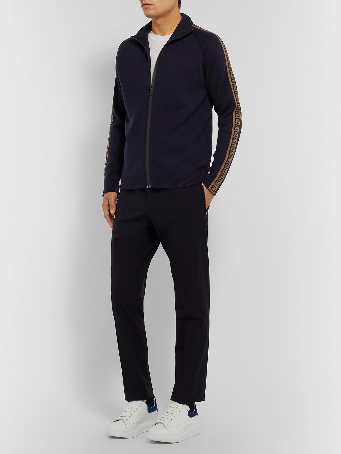 Fendi Sweaters SLIM-FIT LOGO-TRIMMED WOOL ZIP-UP SWEATER