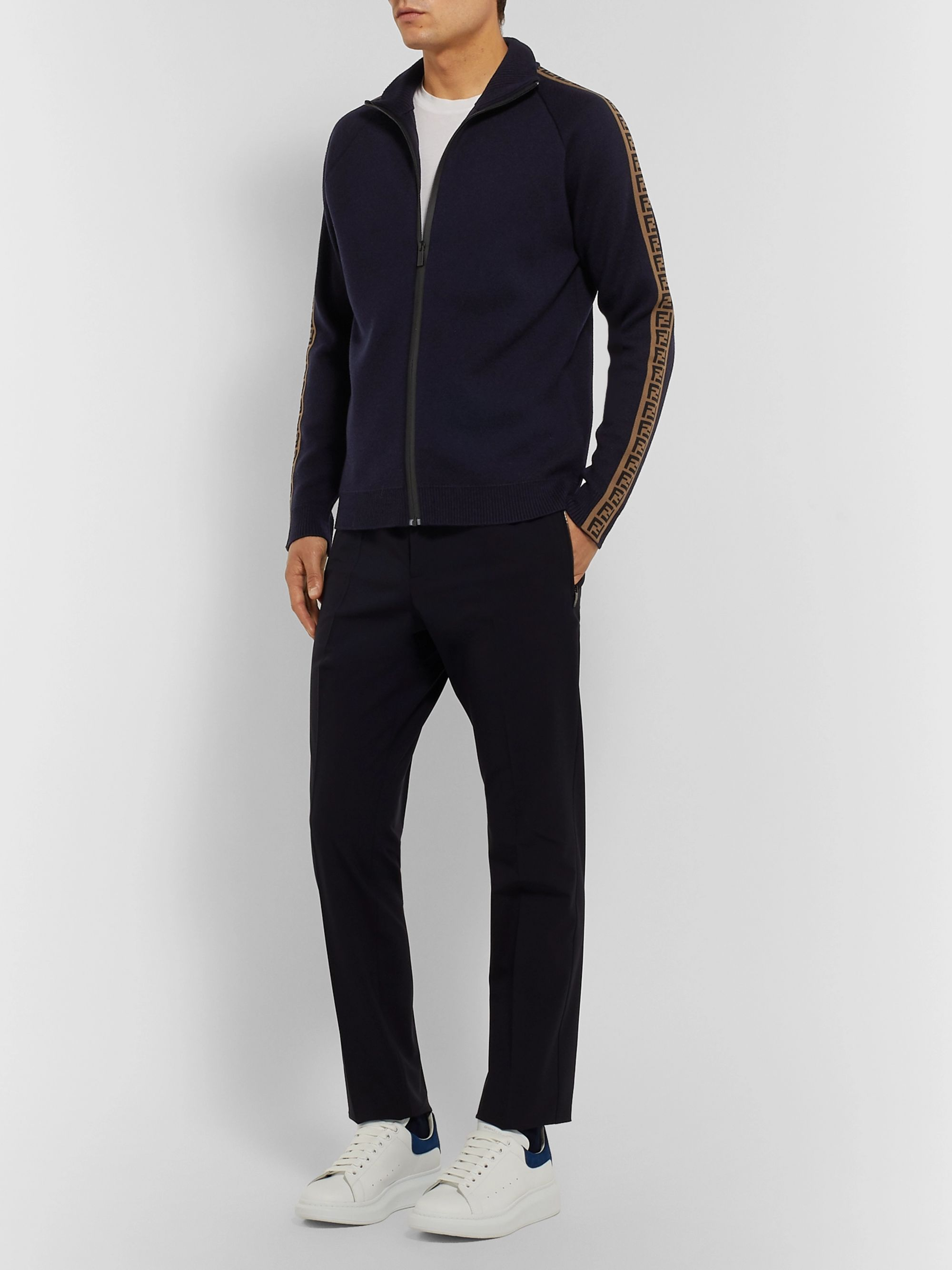 Fendi Slim-Fit Logo-Trimmed Wool Zip-Up Sweater