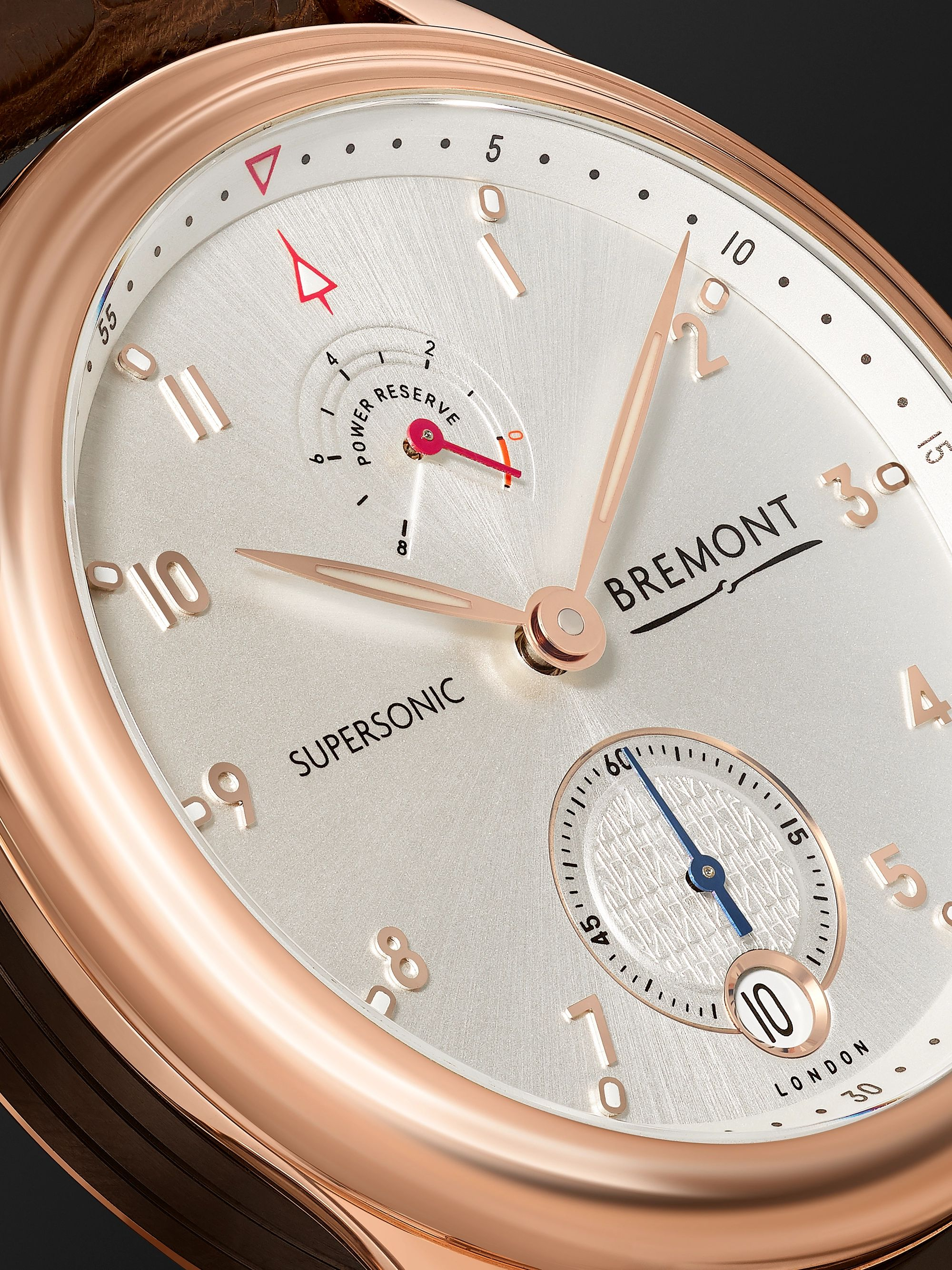 Bremont Supersonic Limited Edition Hand-Wound 43mm 18-Karat Rose Gold and Alligator Watch, Ref. No. 85/100