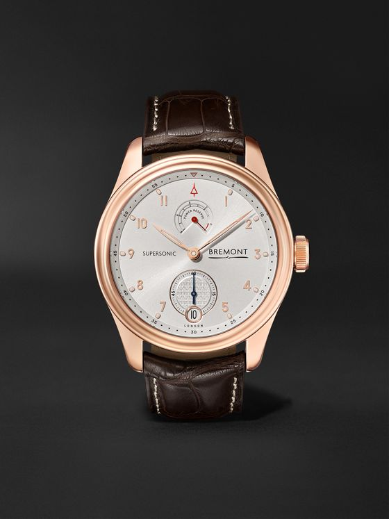 Bremont Supersonic Limited Edition Hand-Wound 43mm 18-Karat Rose Gold and Alligator Watch, Ref. No. SUPERSONIC/RG