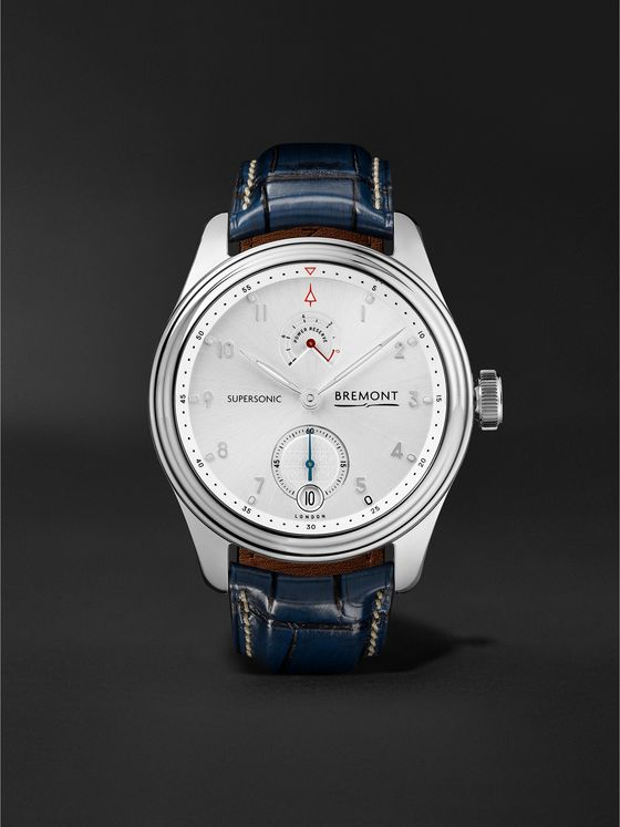Bremont Supersonic Limited Edition Hand-Wound 43mm White Gold and Alligator Watch