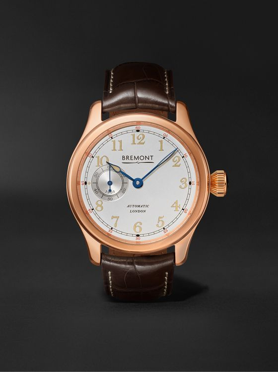 Bremont Wright Flyer Limited Edition Automatic 43mm 18-Karat Rose Gold and Alligator Watch, Ref. No. WF-RG
