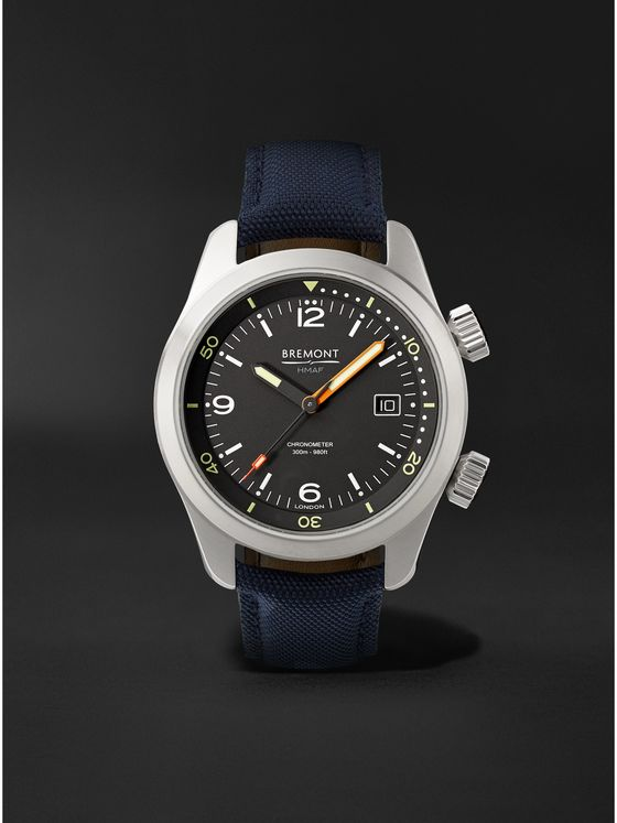 BREMONT Argonaut Automatic 42mm Stainless Steel and Sailcloth Watch, Ref. ARGONAUT-R-S