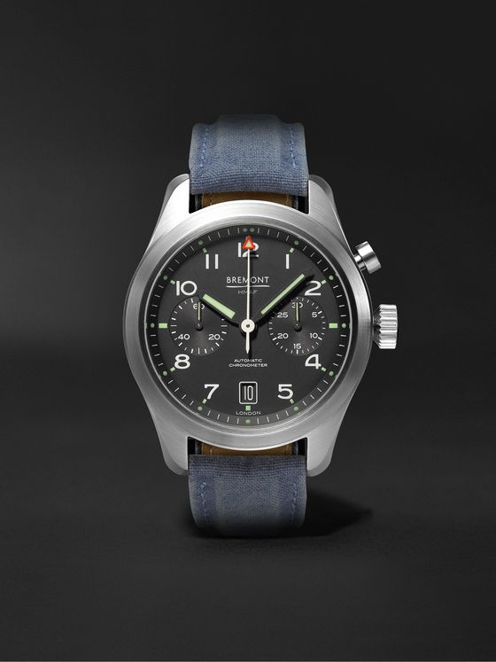BREMONT Arrow Automatic Chronograph 42mm Stainless Steel and Sailcloth Watch, Ref. ARROW-R-S