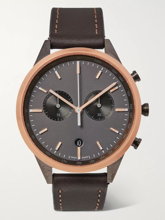 Uniform Wares C41 Chronograph Stainless Steel and Leather Watch