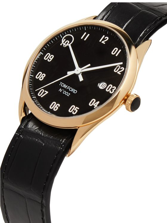 Tom Ford Timepieces 002 40mm 18-Karat Gold and Alligator Watch