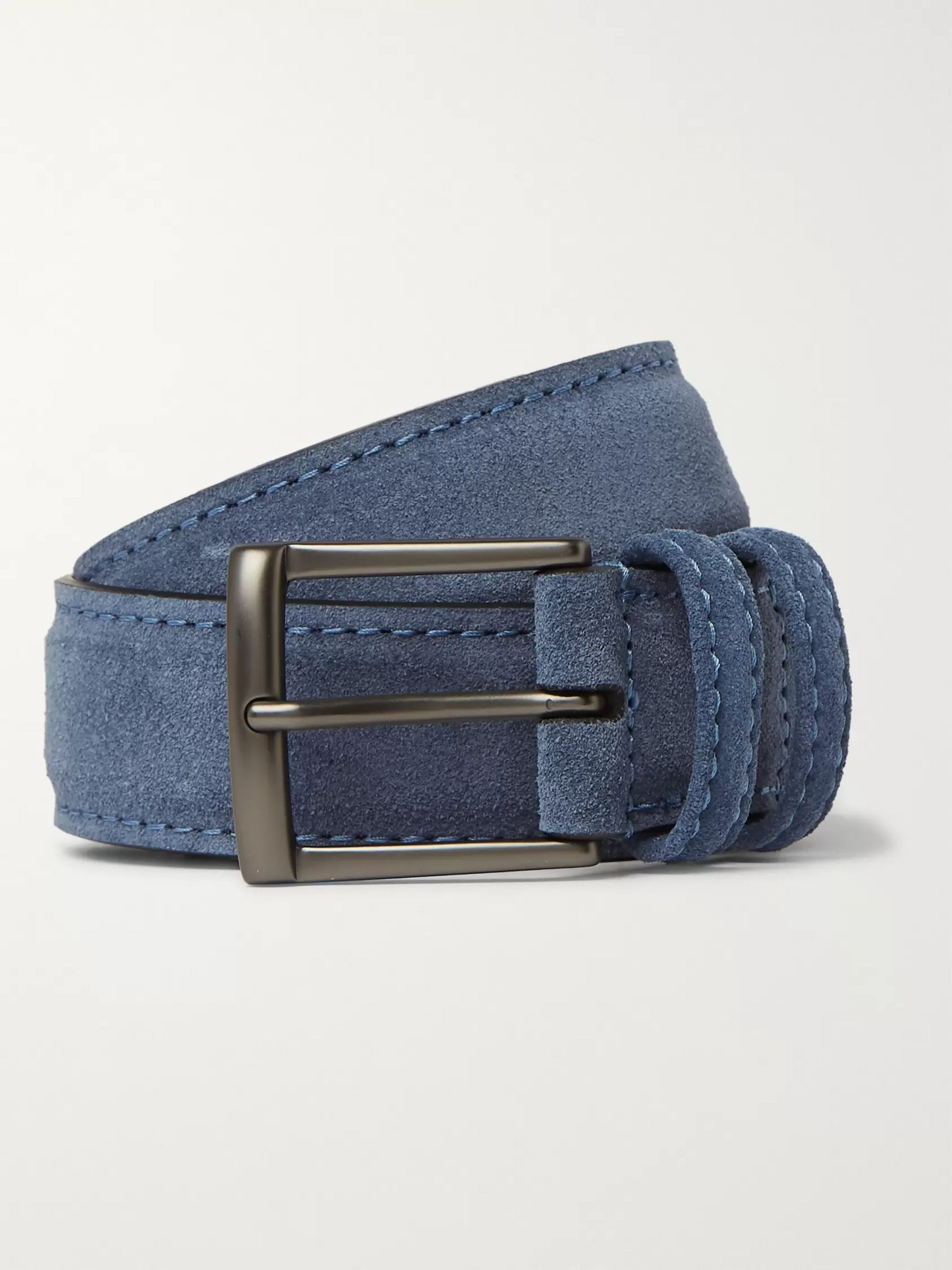 3.5cm Blue Suede Belt by Anderson's