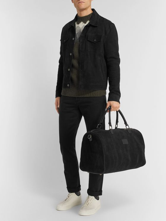 Anderson's Boston Leather-Trimmed Suede Holdall