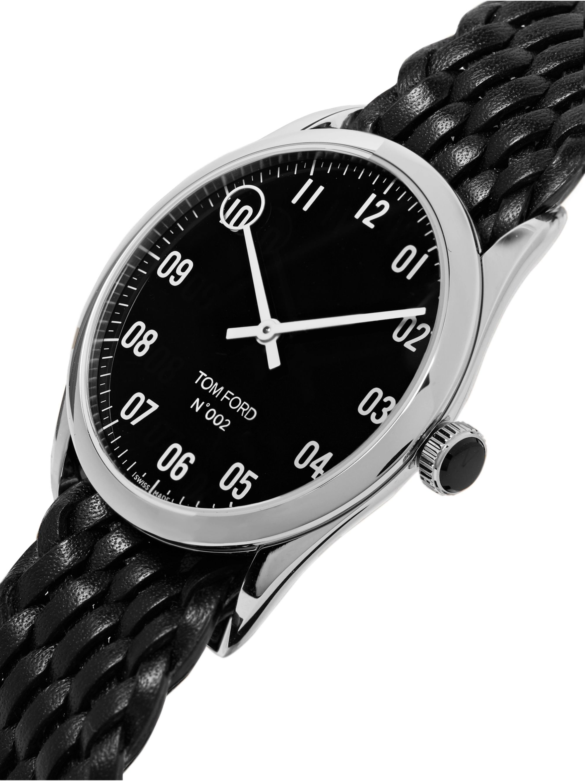 002 38mm Stainless Steel and Braided Leather Watch