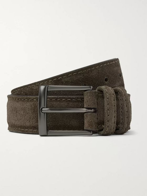 Anderson's 3cm Dark-Green Suede Belt