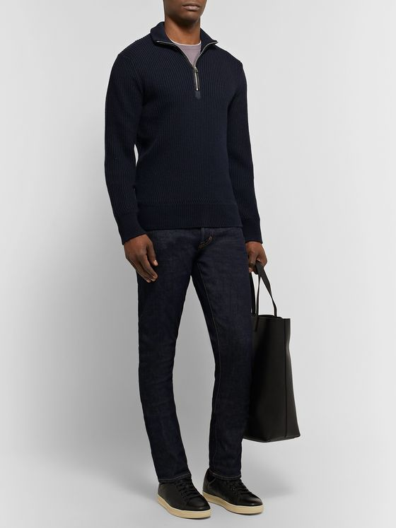 TOM FORD Slim-Fit Ribbed Merino Wool and Cashmere-Blend Half-Zip Sweater