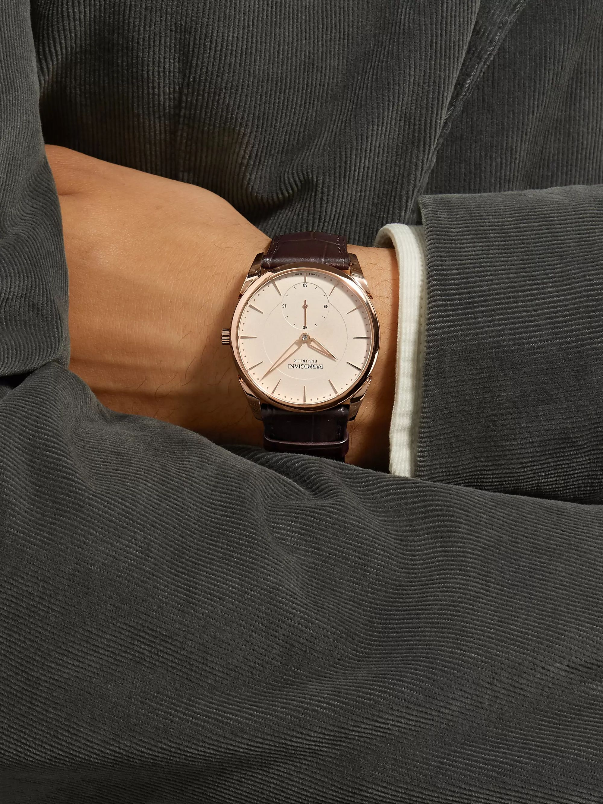 Parmigiani Fleurier Tonda 1950 Automatic 39mm 18-Karat Rose Gold and Alligator Watch