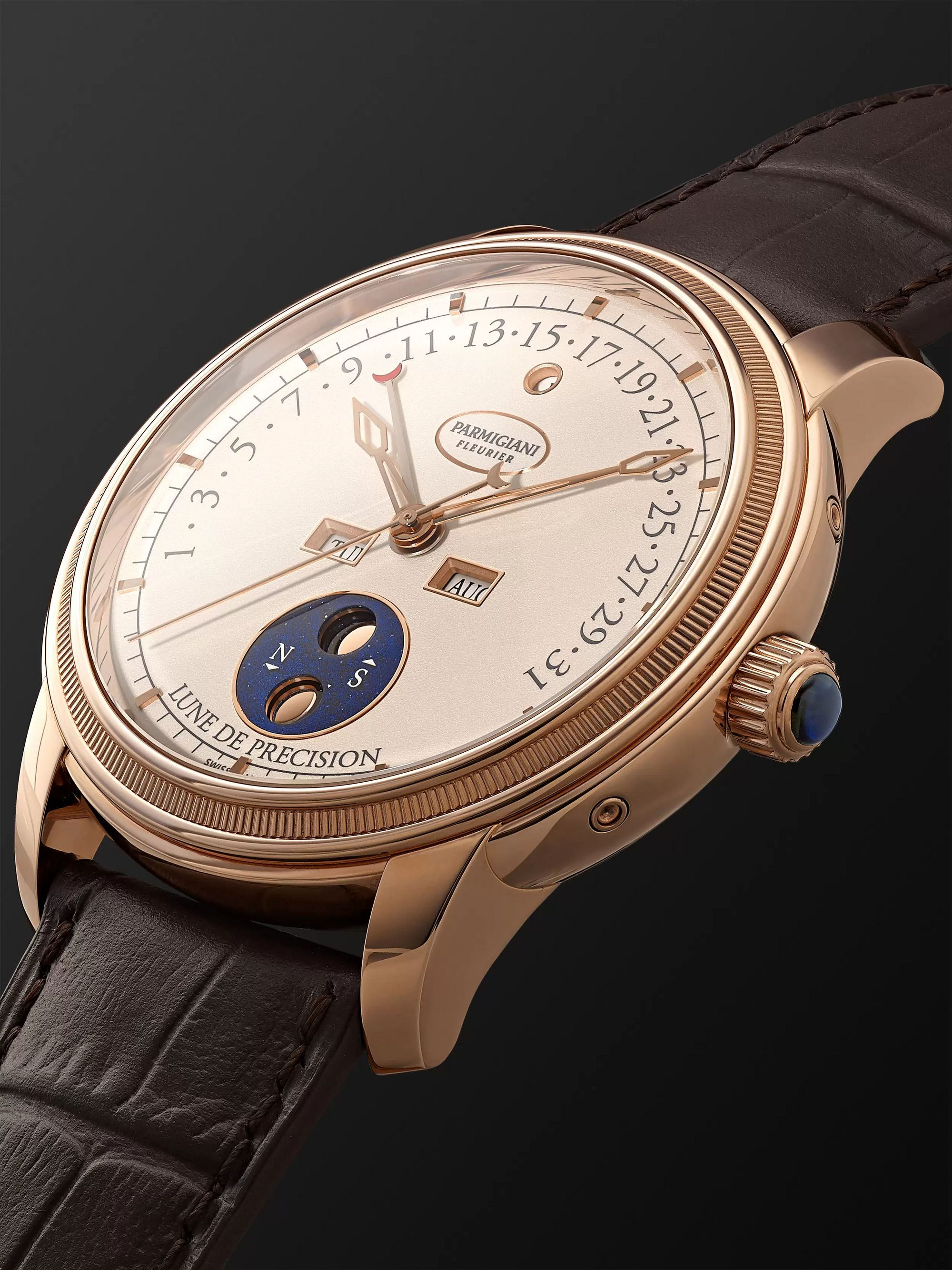 Parmigiani Fleurier Toric Quantième Perpetual Retrograde Calendar and Moon Phase Automatic 42.5mm 18-Karat Red Gold and Alligator Watch