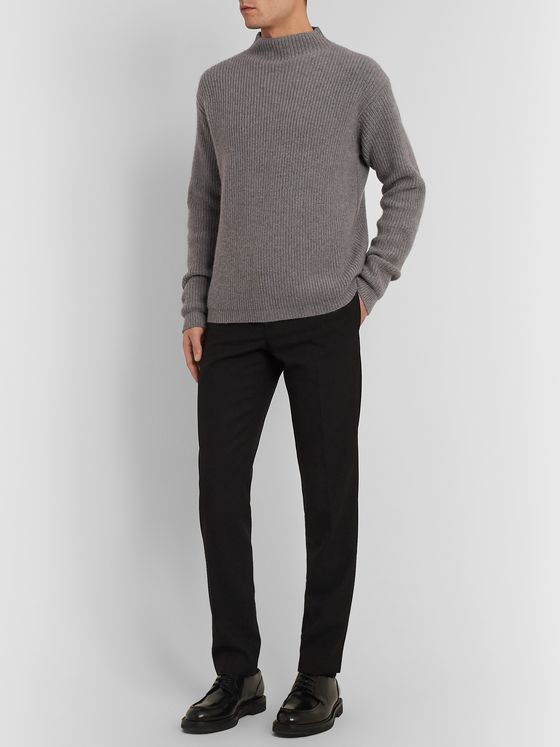 Deveaux Ribbed Cashmere Mock-Neck Sweater