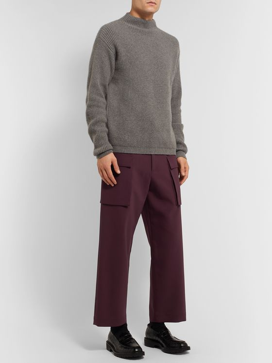 DEVEAUX Wide-Leg Cropped Stretch-Knit Cargo Trousers