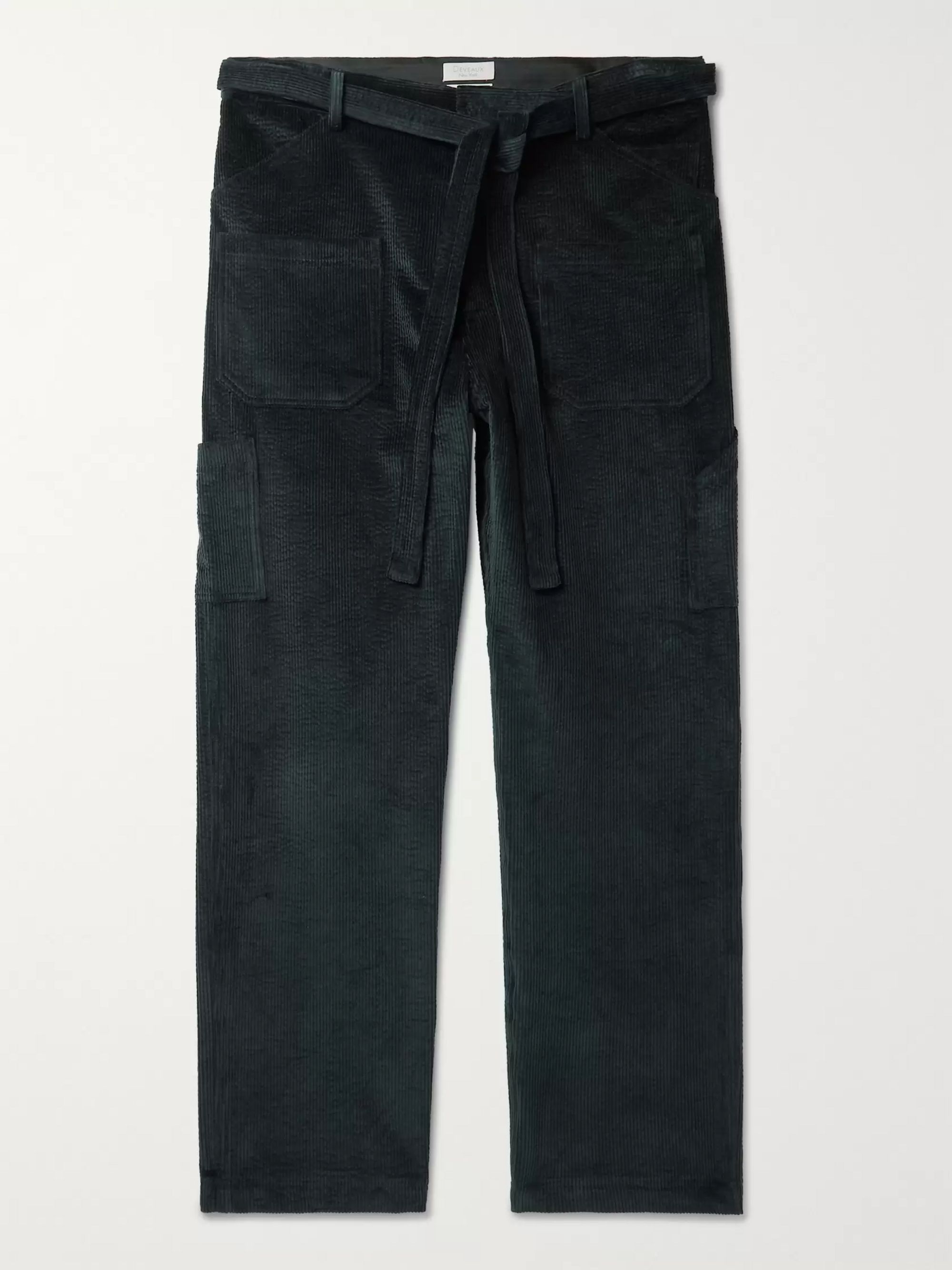 Deveaux Teal Cotton-Blend Corduroy Suit Trousers