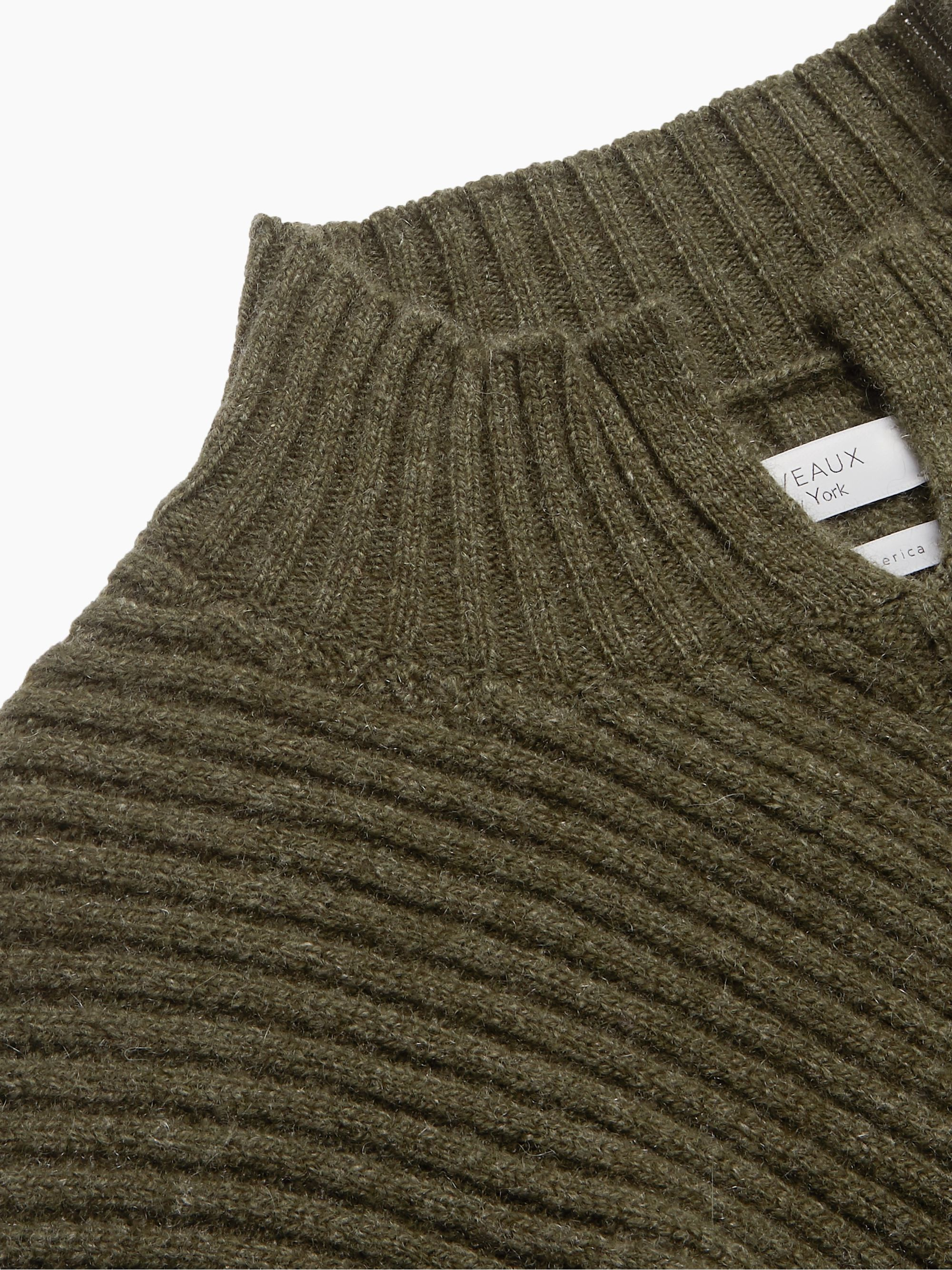 Deveaux Mock-Neck Diagonal-Ribbed Cashmere Sweater