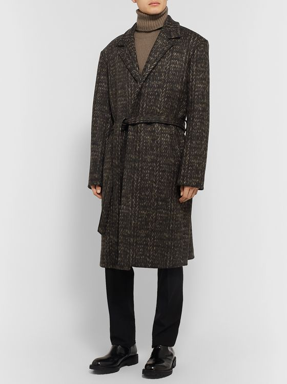 Deveaux Double-Faced Herringbone Virgin Wool Coat