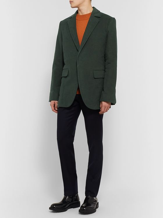 Deveaux Dark-Green Cotton-Moleskin Blazer