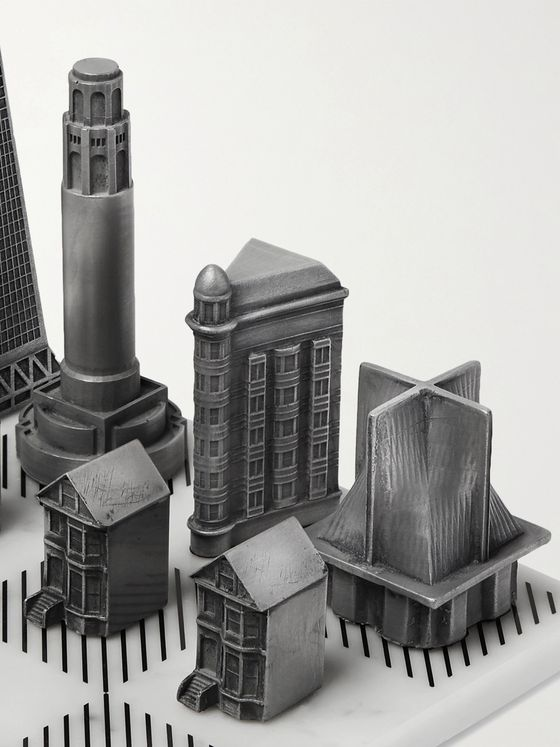 Skyline Chess San Francisco Marble Chess and Gunmetal-Tone Set