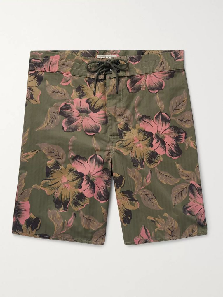 RRL Long-Length Printed Cotton-Blend Swim Shorts