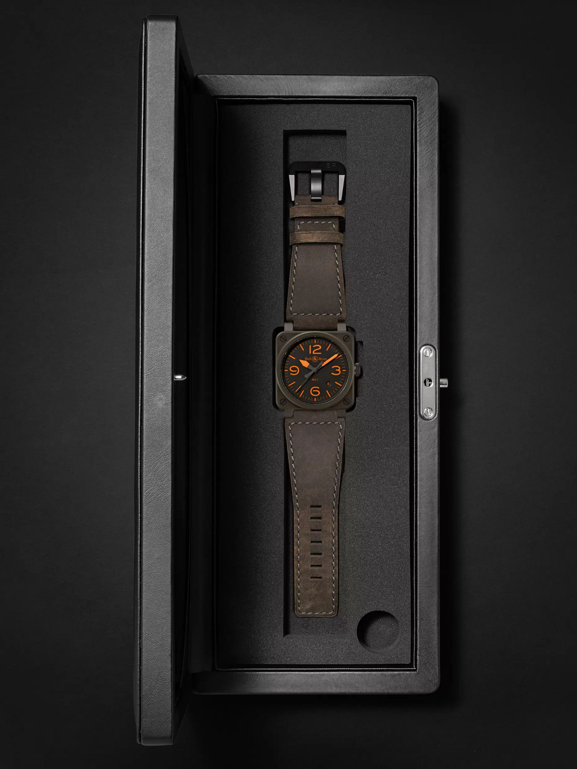 Bell & Ross BR 03-92 MA-1 Limited Edition Automatic 42mm Ceramic and Leather Watch