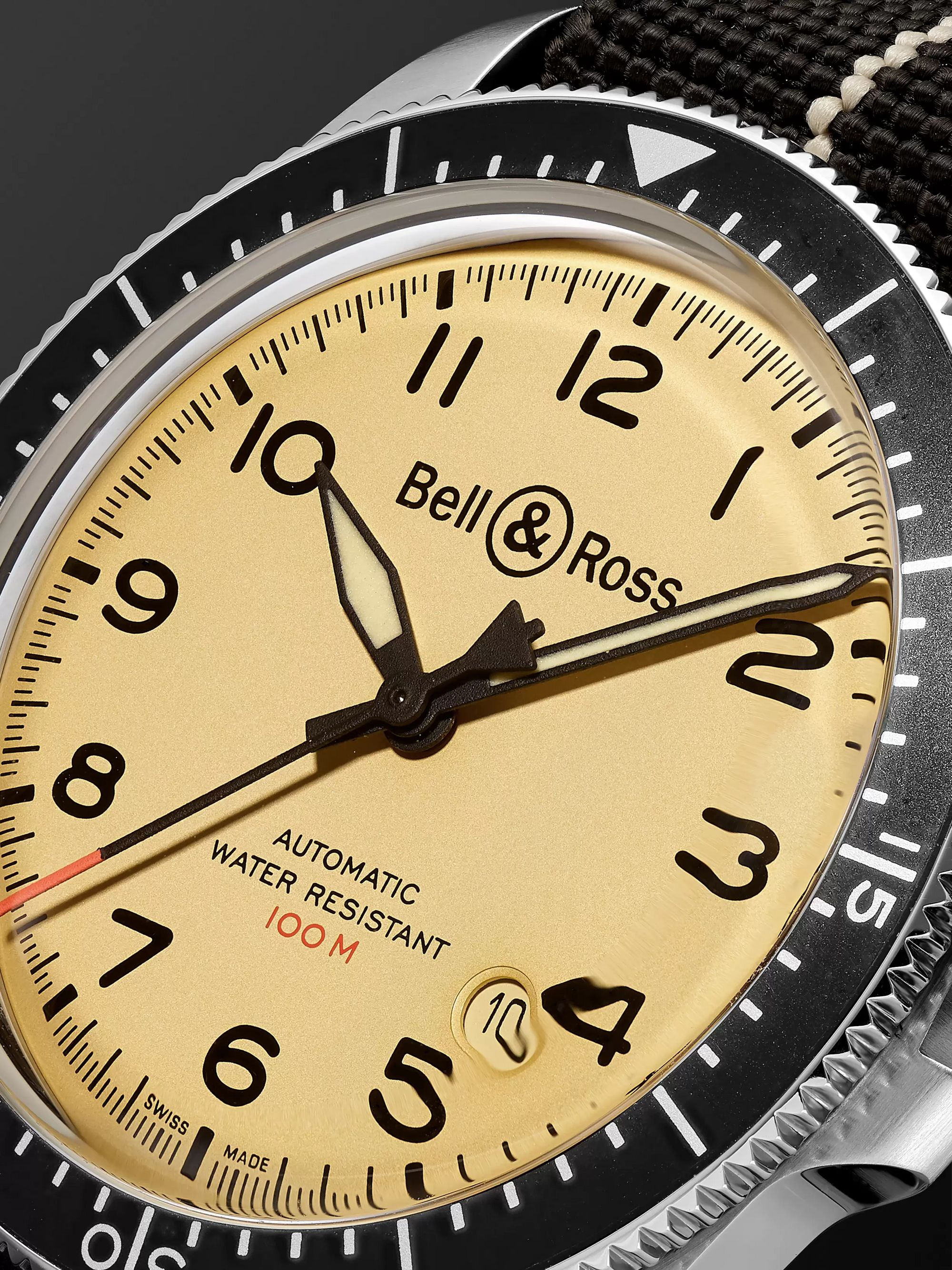 Bell & Ross BR V2-92 Limited Edition Automatic 41mm Stainless Steel and Canvas Watch, Ref. No.  BRV292-BEI-ST/SF