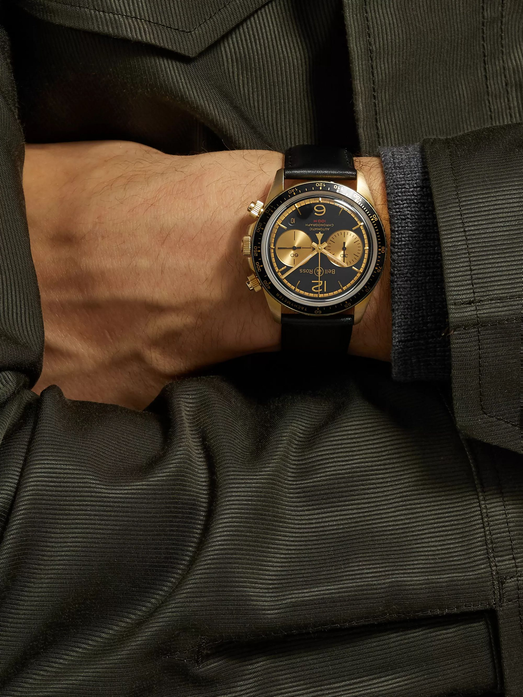 Bell & Ross BR V2-94 Bellytanker Limited Edition Automatic Chronograph 41mm Bronze and Leather Watch