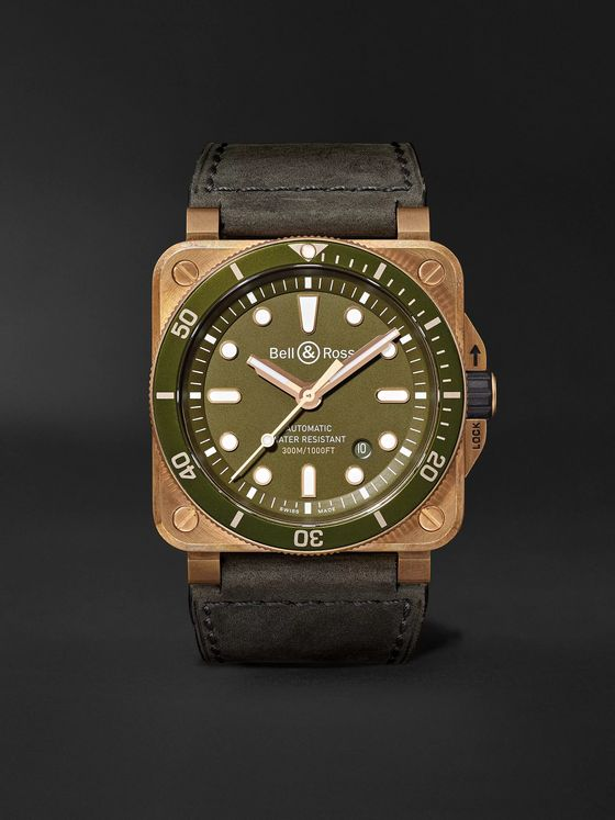 Bell & Ross BR 03-92 Diver Limited Edition Automatic 42mm Bronze, Stainless Steel and Leather Watch