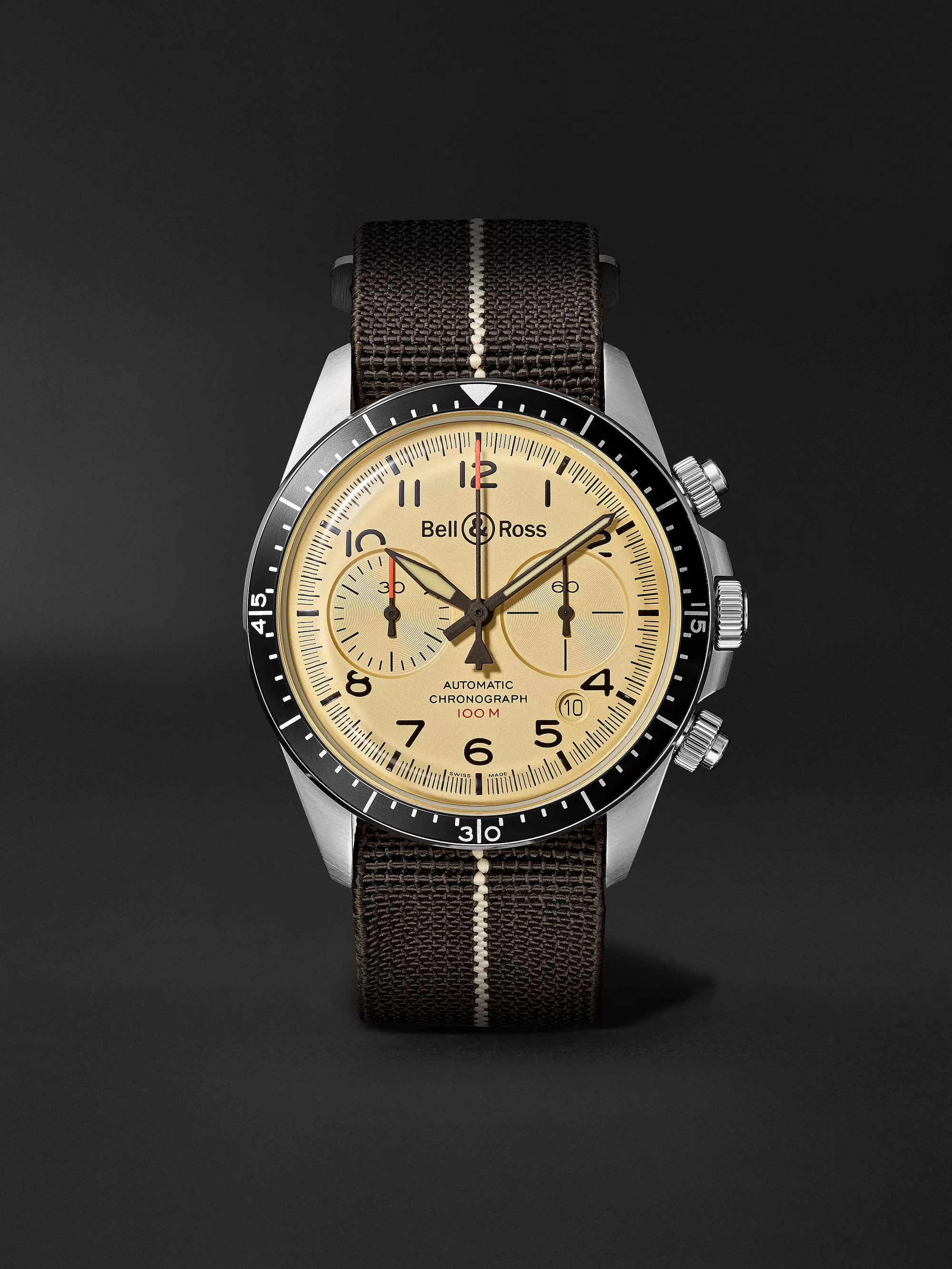 Bell And Ross Watches >> Br V2 94 Automatic Chronograph 41mm Stainless Steel And Canvas Watch Ref No Brv294 Bei St Sf