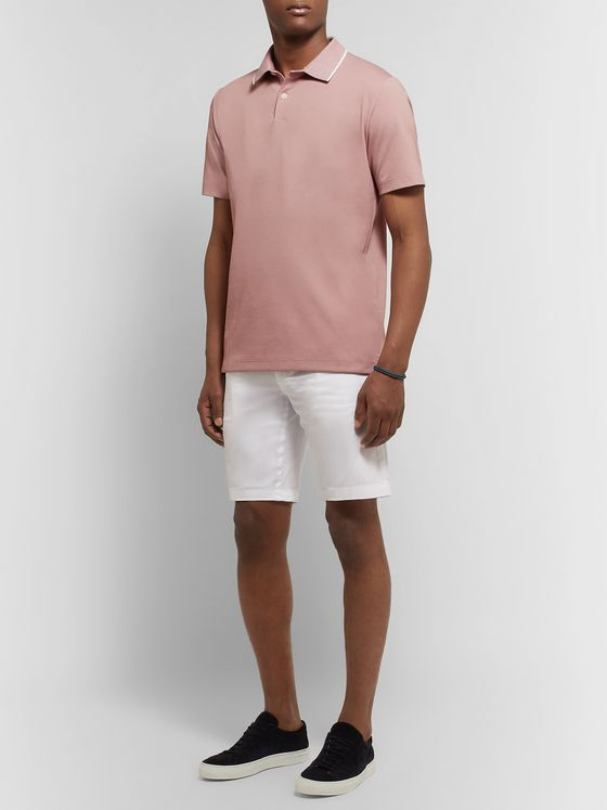 Theory Contrast-Tipped Pima Cotton-Blend Piqué Polo Shirt