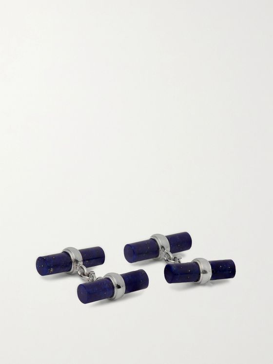 Villa 18-Karat White Gold and Lapis Lazuli Cufflinks
