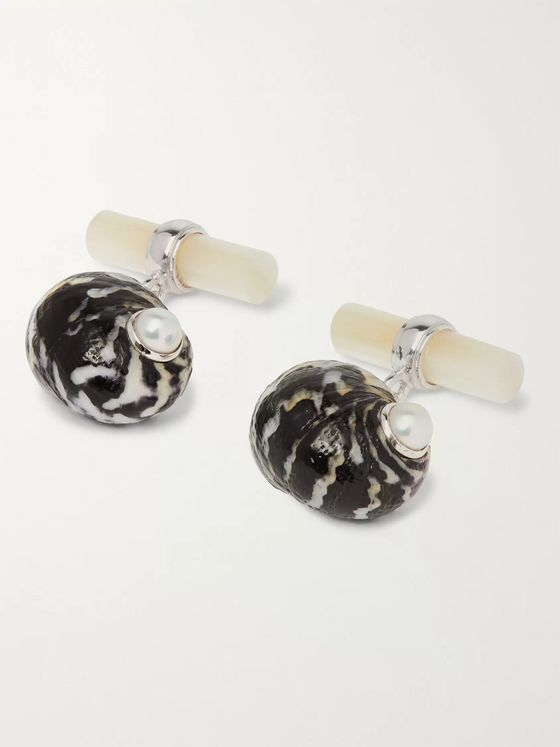 Villa 18-Karat White Gold Mother-of-Pearl and Shell Cufflinks