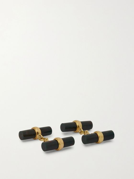 Villa 18-Karat Gold and Blood Jasper Cufflinks