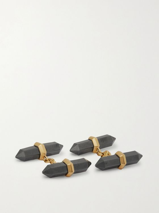 Villa 18-Karat Gold and Hematite Cufflinks