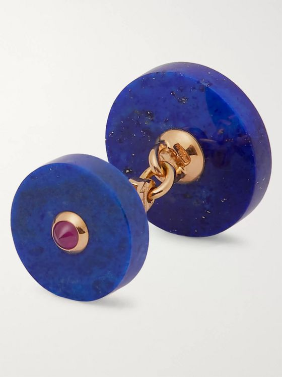 Villa 18-Karat Gold, Lapis Lazuli and Ruby Cufflinks