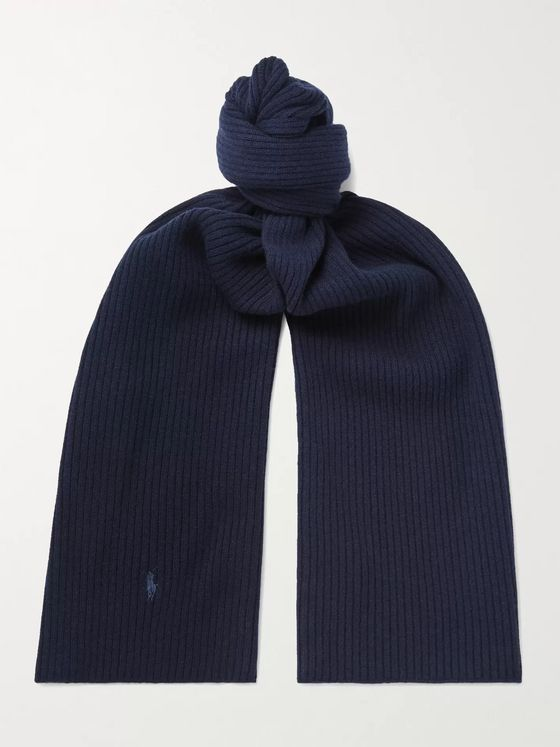 POLO RALPH LAUREN Logo-Embroidered Ribbed Wool Scarf