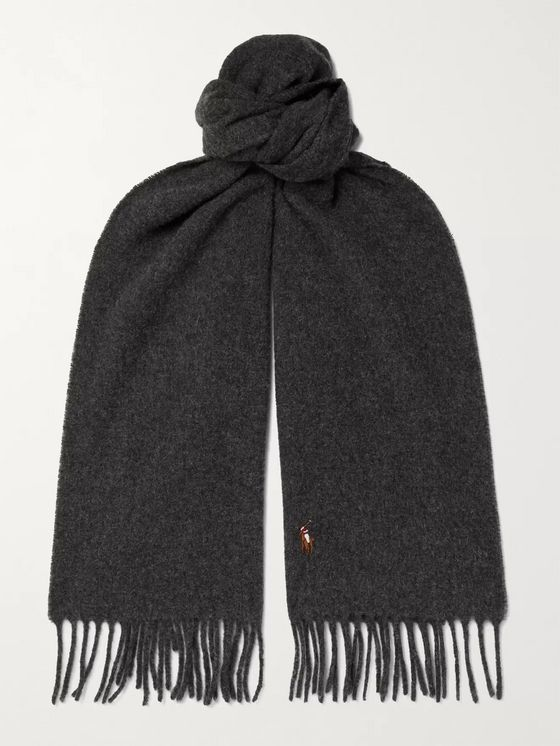 POLO RALPH LAUREN Logo-Embroidered Fringed Wool Scarf