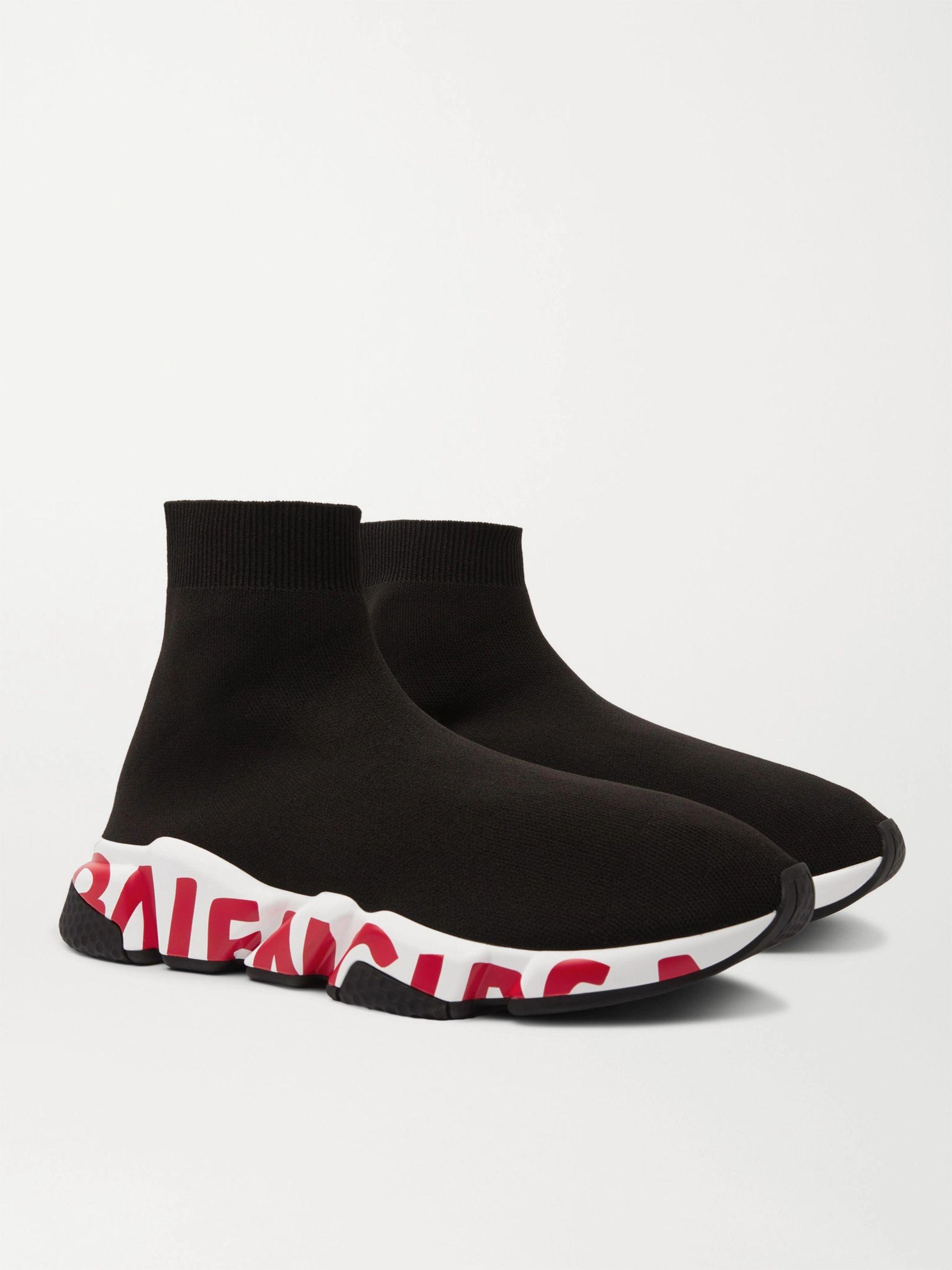 발렌시아가 스피드러너 그래피티 남성용 - 블랙/레드 Balenciaga Speed Sock Logo-Print Stretch-Knit Slip-On Sneakers,Black
