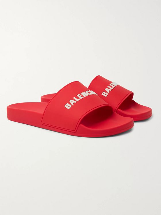 BALENCIAGA Logo-Embossed Rubber Slides