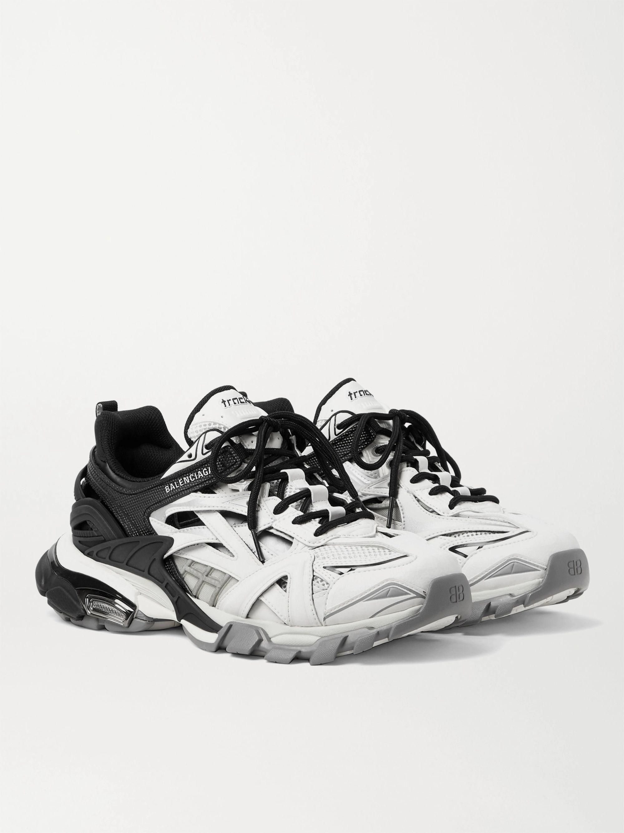 발렌시아가 Balenciaga Track.2 Nylon Mesh and Rubber Sneakers,Black