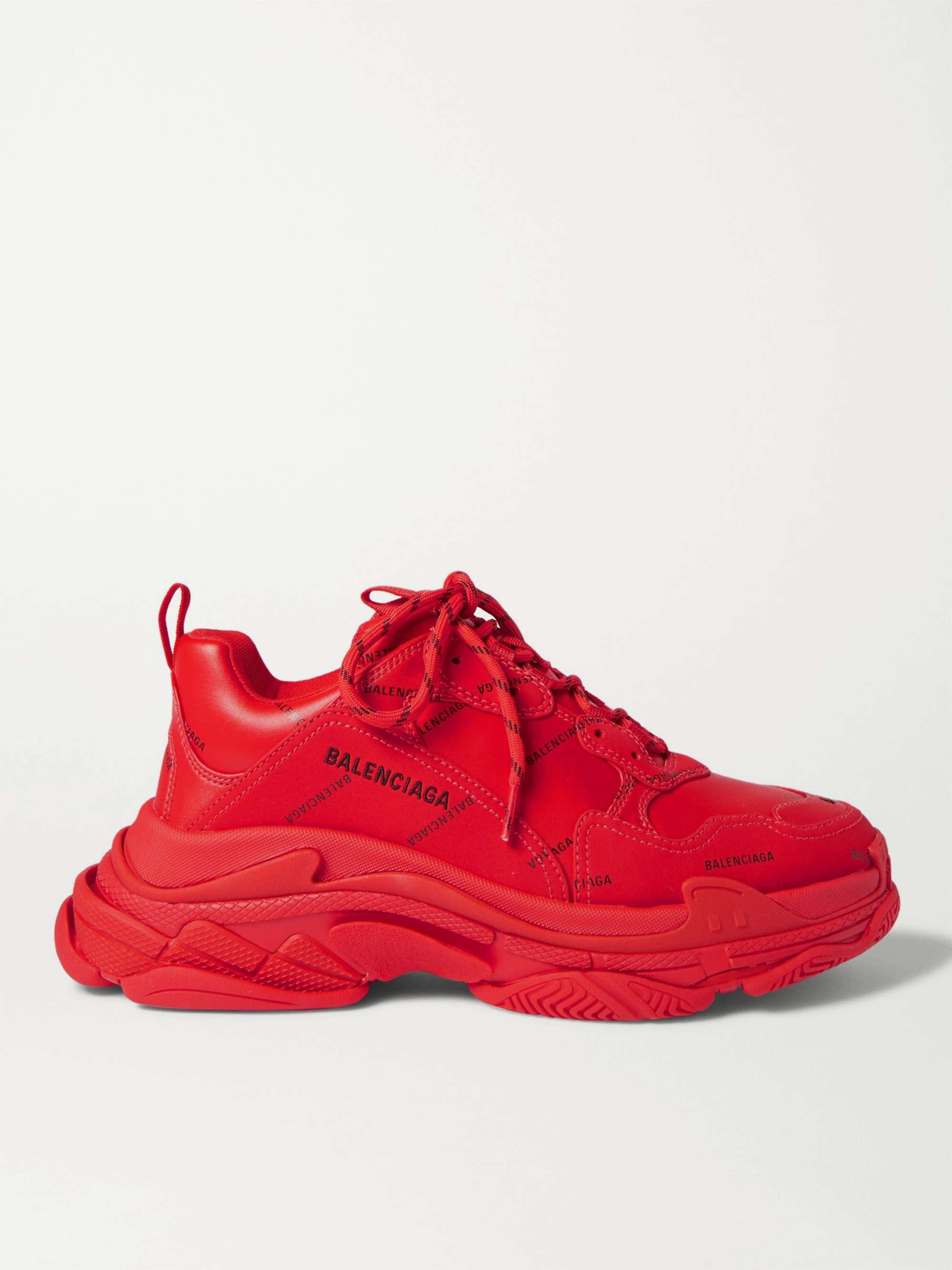 발렌시아가 트리플S 남성용 Balenciaga Triple S Logo-Print Faux Leather Sneakers,Red