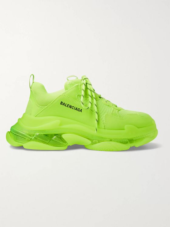 BALENCIAGA Triple S Clear Sole Faux Leather and Mesh Sneakers