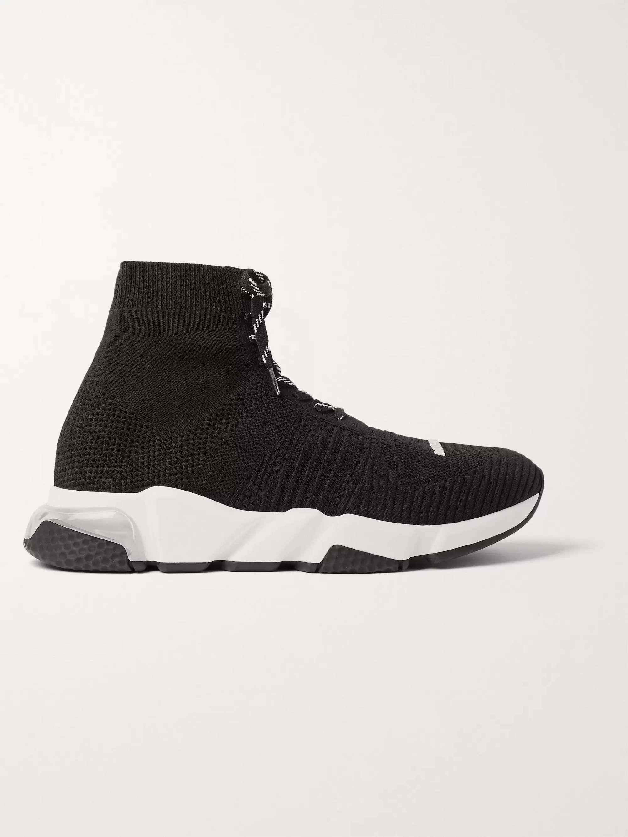 발렌시아가 스피드러너 남성용, 레이스업 - 블랙 Balenciaga Speed Stretch-Knit Sneakers,Black