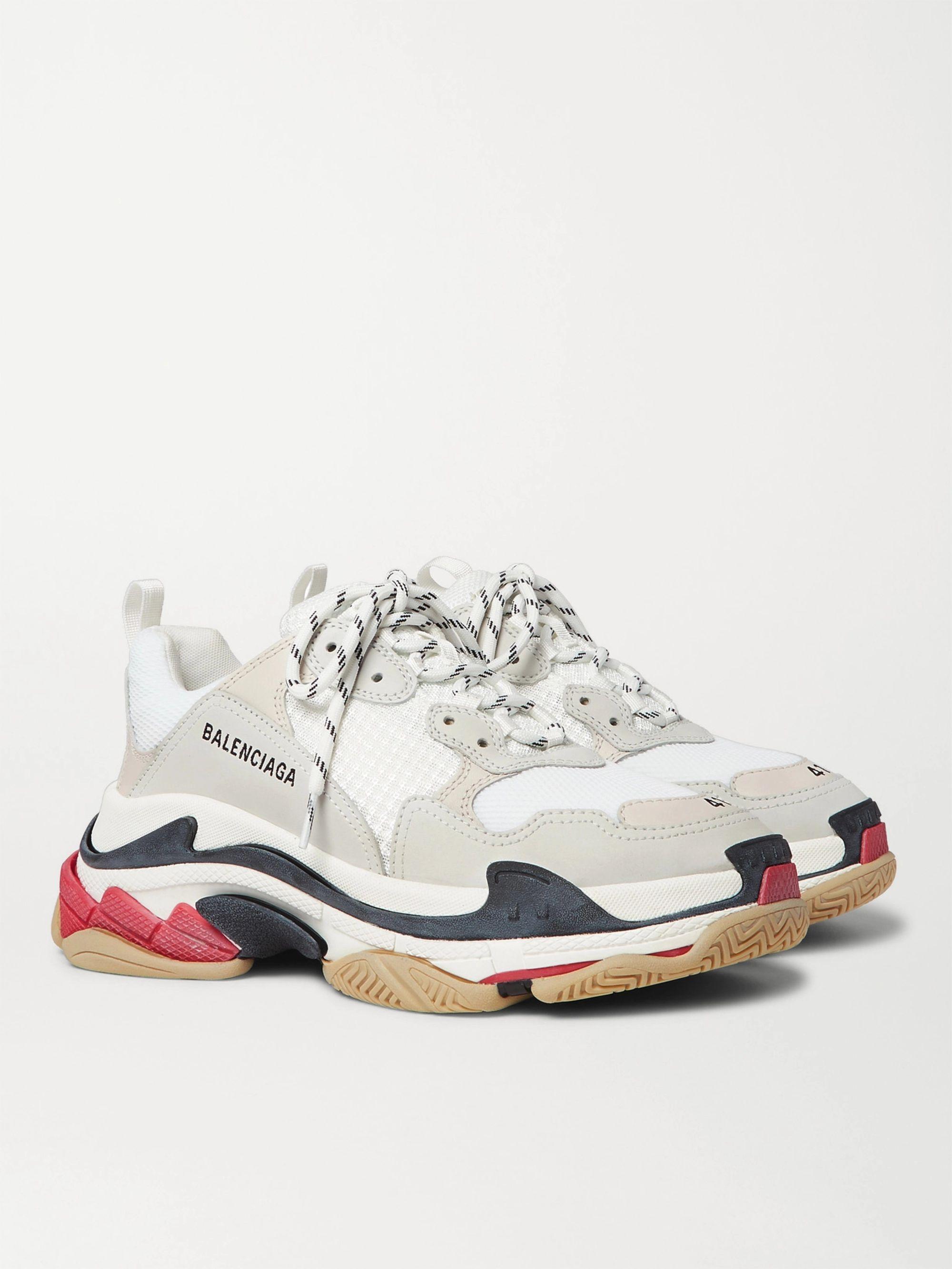발렌시아가 트리플S 삼색 - 화이트/블랙/레드 533882 W09E1 9000 Balenciaga Triple S Mesh Nubuck and Leather Sneakers,White