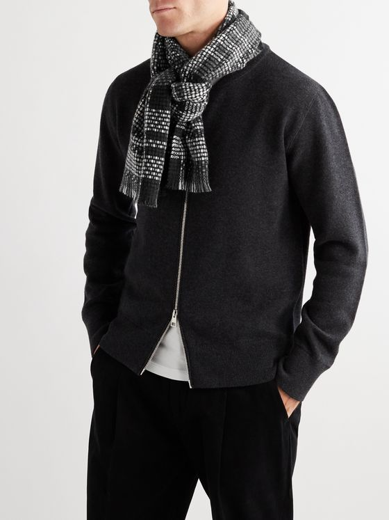 Mr P. Fringed Checked Cashmere Scarf