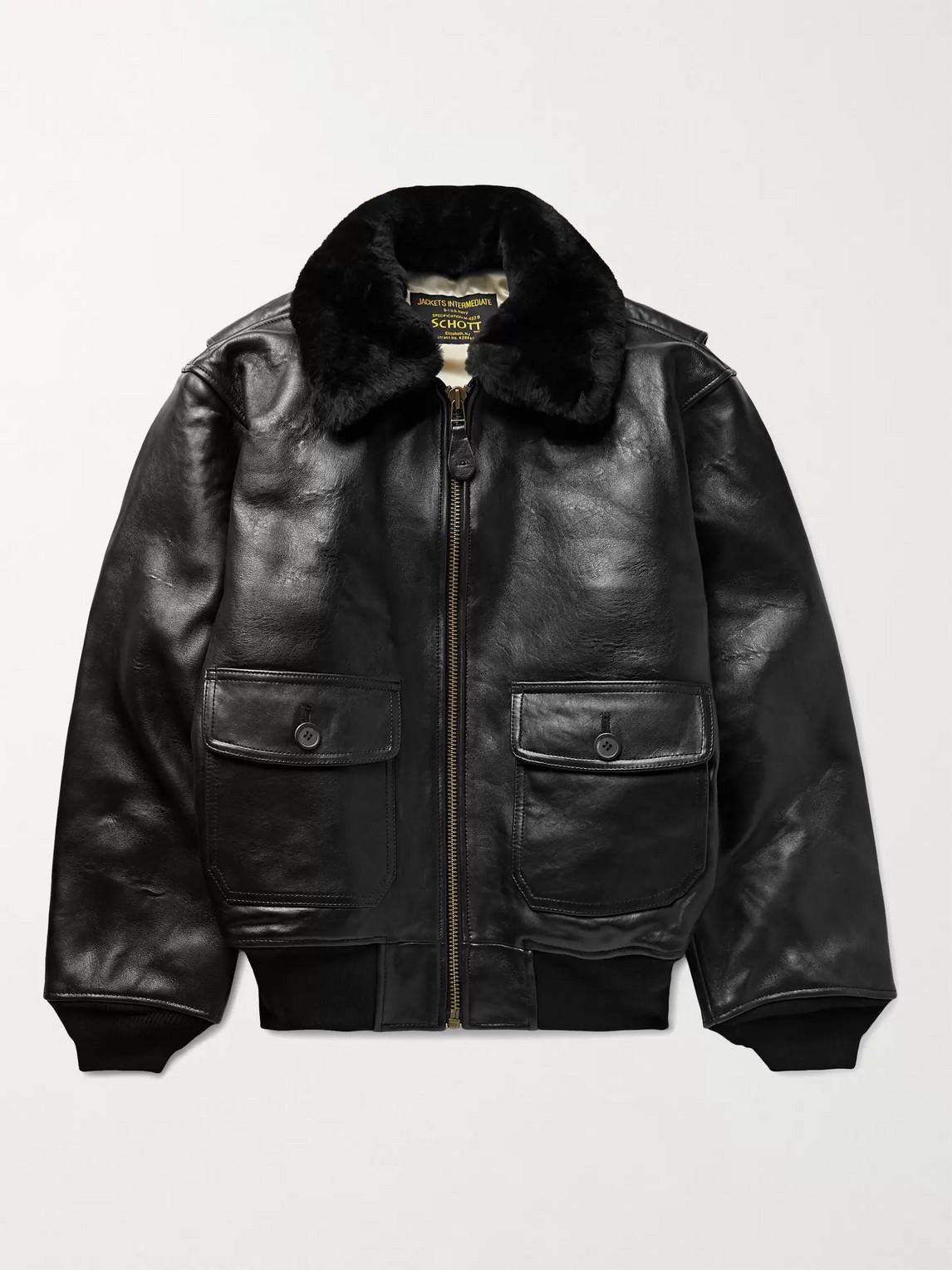 Schott G-1 Shearling-trimmed Leather Bomber Jacket In Black