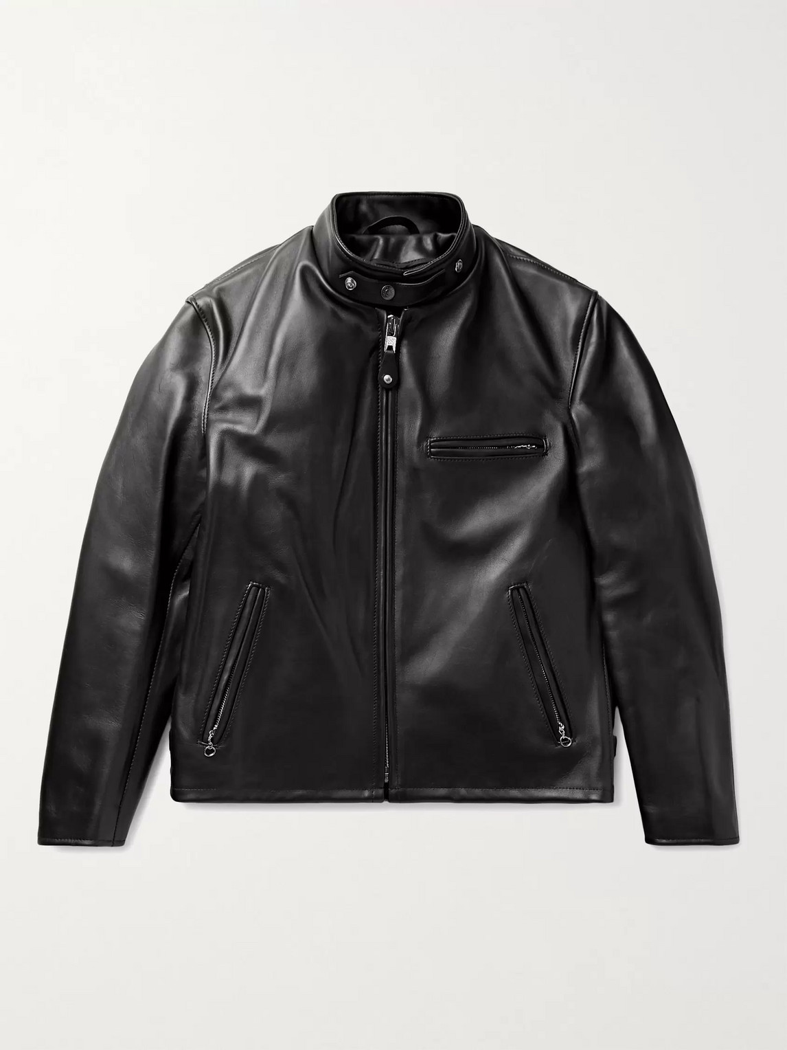 Schott Classic Racer Slim-fit Leather Biker Jacket In Black