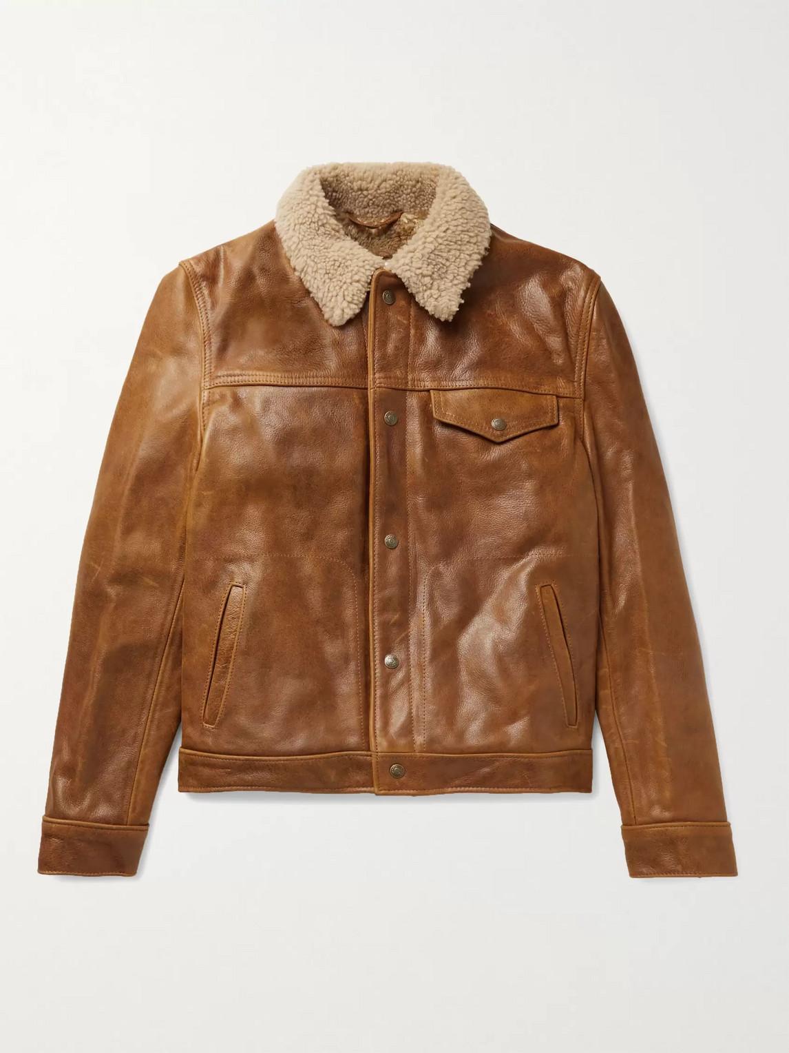 Schott Shearling-trimmed Leather Trucker Jacket In Brown