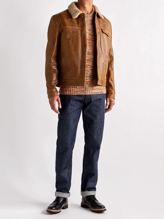 Schott Shearling-Trimmed Leather Trucker Jacket